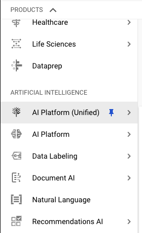 AI Platform (Unified) under Artificial Intelligence